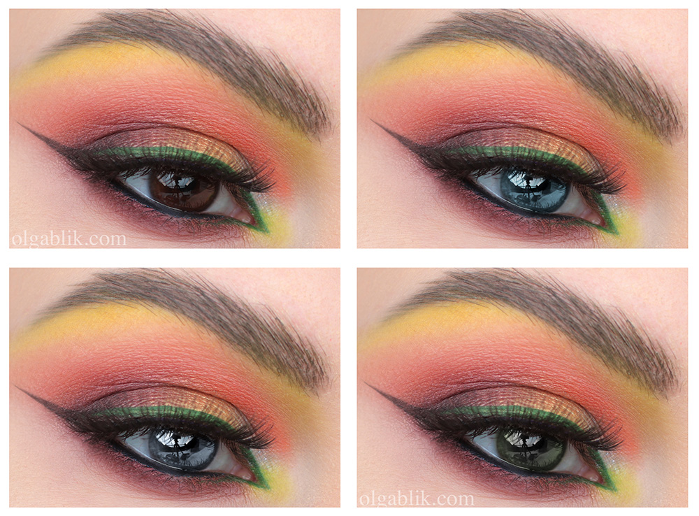 Макияж с зелеными стрелками на глазах