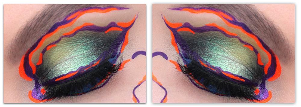 Креативный макияж с цветными подводками