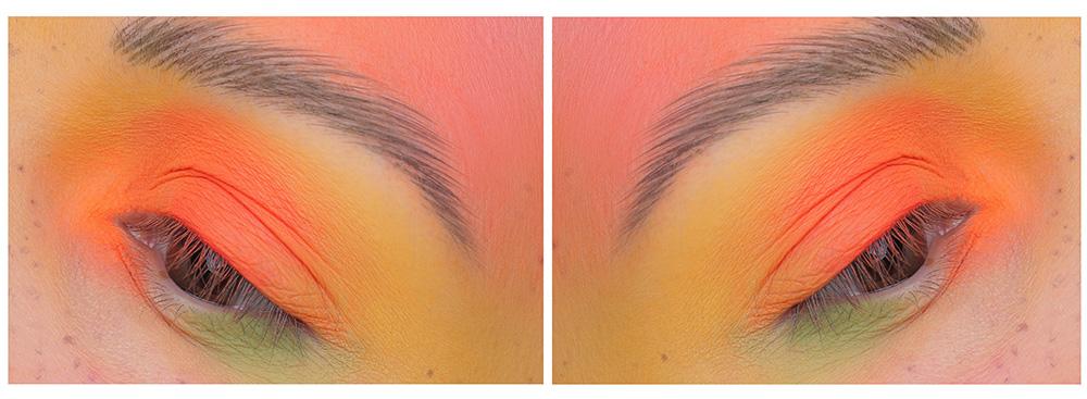Креативный макияж лица с цветными тенями