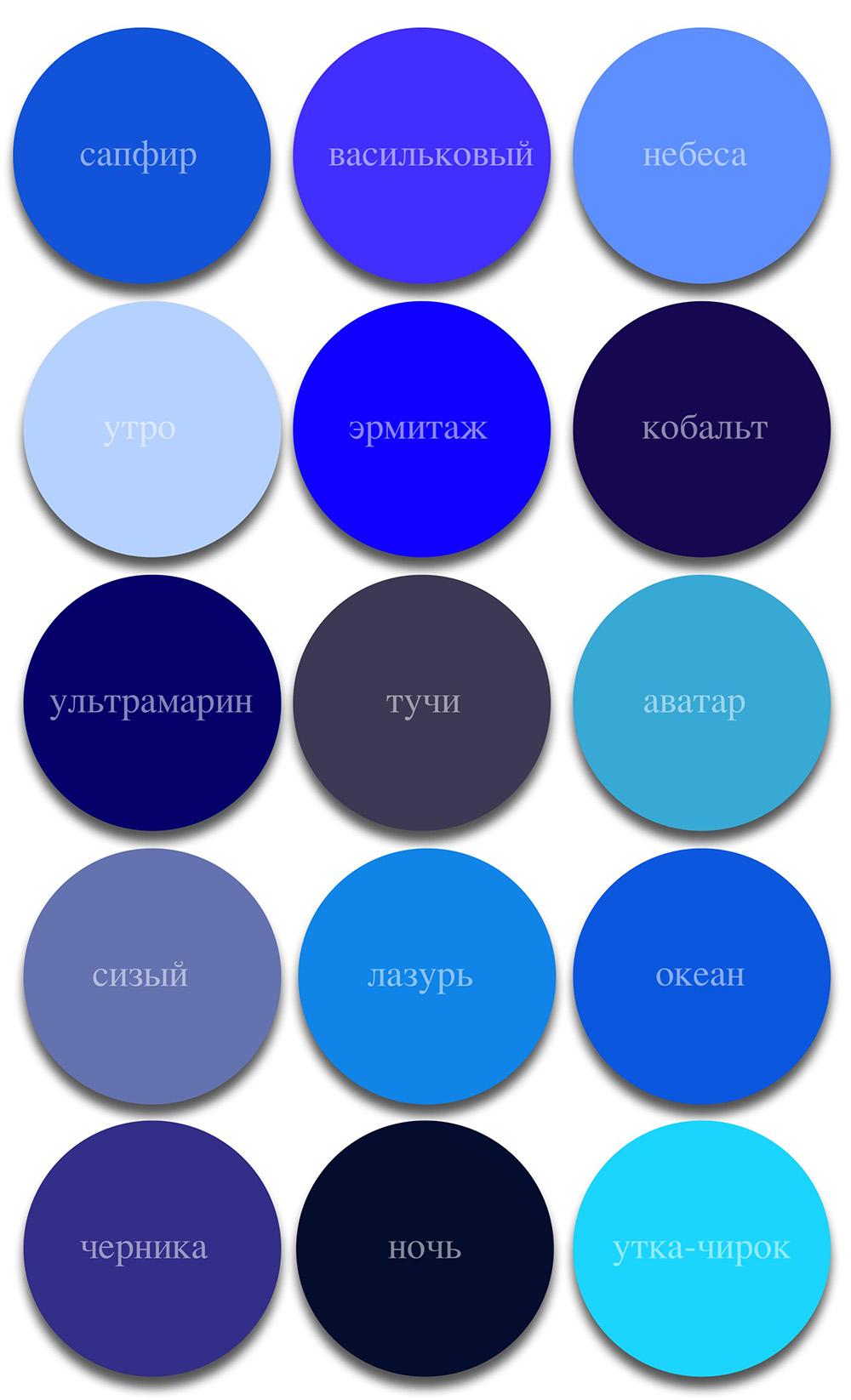 Все оттенки синего цвета