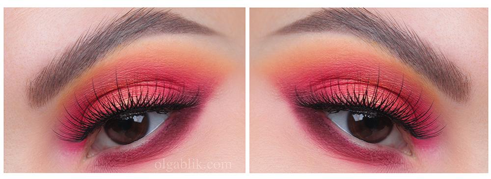 Макияж с бордовыми тенями для карих глаз - фото