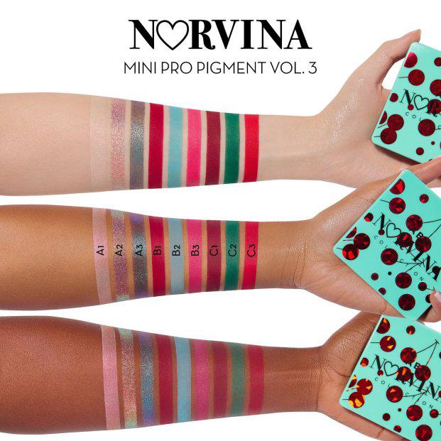 Палетка Anastasia Beverly Hills' Mini Norvina Pro Pigment Palette Vol. 3 - свотчи