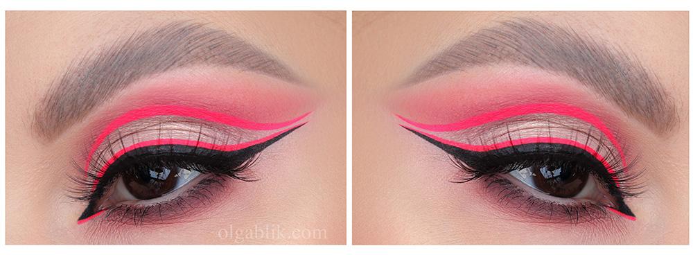 Макияж с розовой неоновой подводкой для глаз