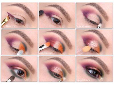 Еще одно сочетание цветов в макияже: пошагово
