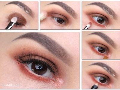 Дневной макияж в оранжевых тонах пошагово – схема нанесения
