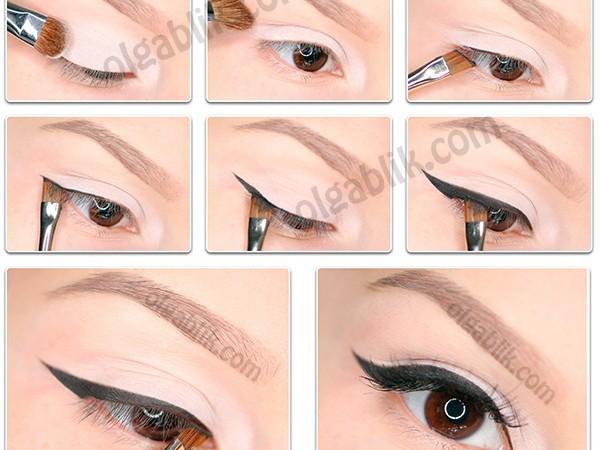 Как рисовать широкие стрелки – пошаговый макияж глаз