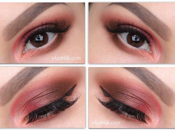 Коралловый цвет в макияже глаз – пошаговый фото-урок