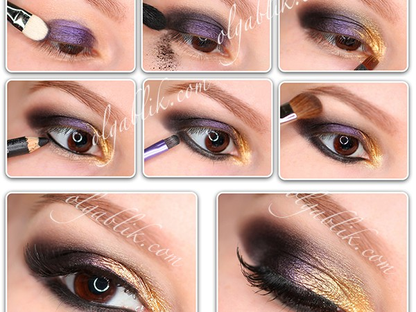 Макияж с золотыми и фиолетовыми цветами пошагово