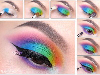 Цветной макияж глаз: 15 ярких мэйков пошагово!