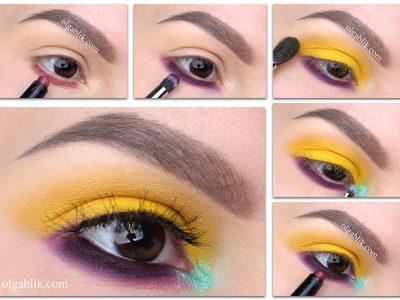 Желтый макияж глаз – пошаговая схема нанесения теней