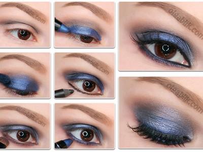 Как сделать макияж синего цвета – пошаговый фото-урок