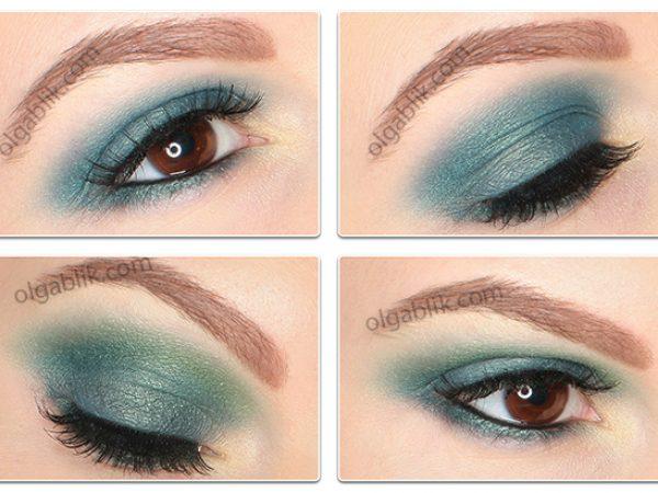 Бирюзовый макияж: пошаговая схема нанесения теней